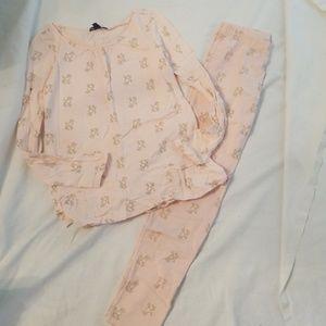 Girls Gap pink poodle leggings shirt outfit 8
